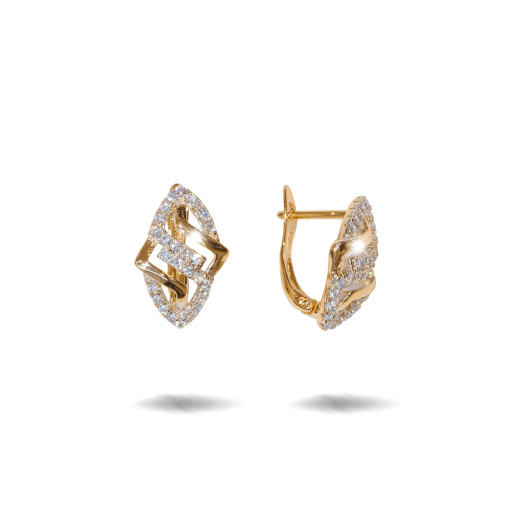 Cercei placati cu aur 18 K, cu pietre zirconia montura micropave , 7603O824