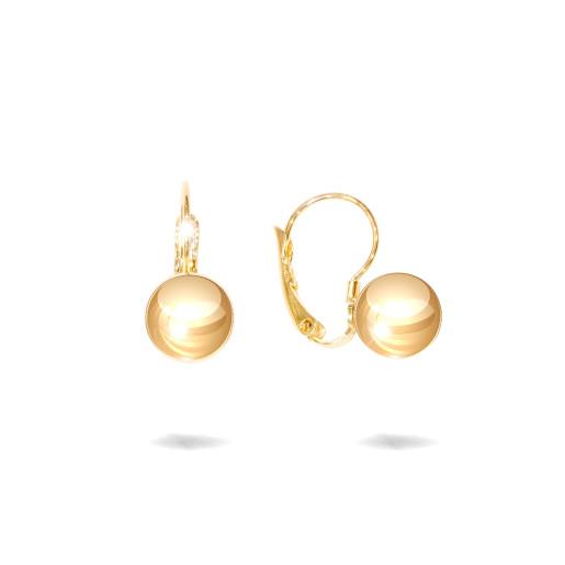Cercei placati cu aur 18 K, cu bilute lucioase , diametru 1 cm , 7605O822