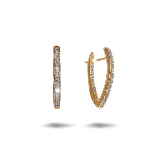 Cercei placati cu aur 18 K, cu pietre zirconia montura micropave , 7606O824