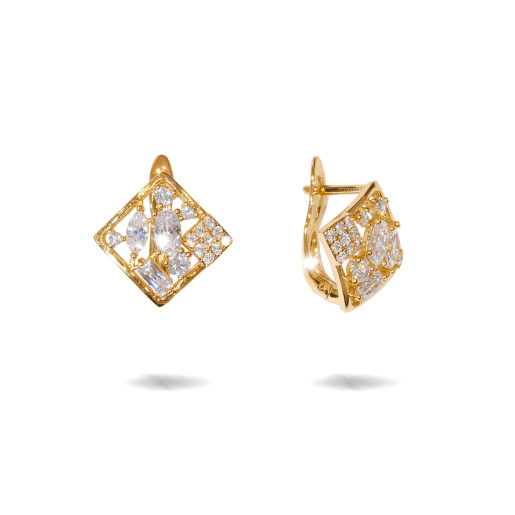 Cercei placati cu aur 18 K, cu pietre zirconia montura micropave , 7607O822