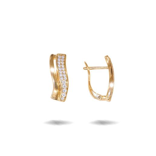 Cercei placati cu aur 18 K, cu pietre zirconia montura micropave , 7608O824