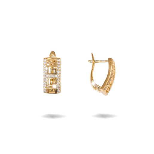 Cercei placati cu aur 18 K,model grecesc cu pietre zirconia montura micropave , 7609O822