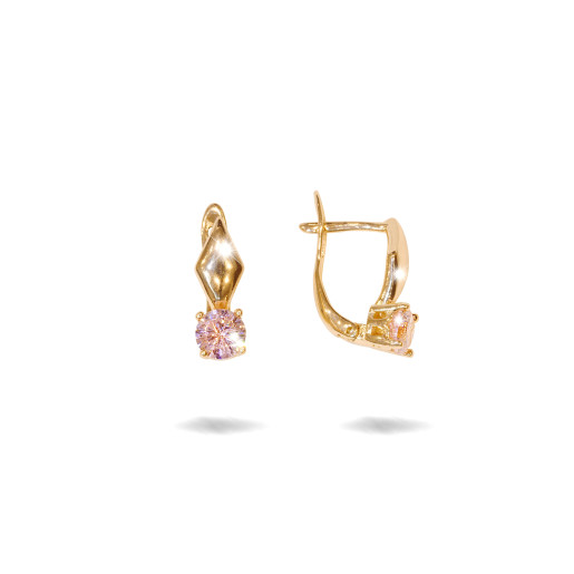 Cercei placati cu aur 18 K, cu pietre zirconia roz, 7610O817