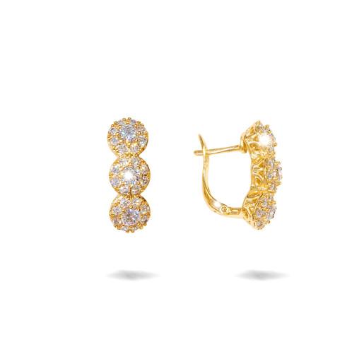 Cercei placati cu aur 18 K, cu pietre trei pietre zirconia multifatetate , 7612O824