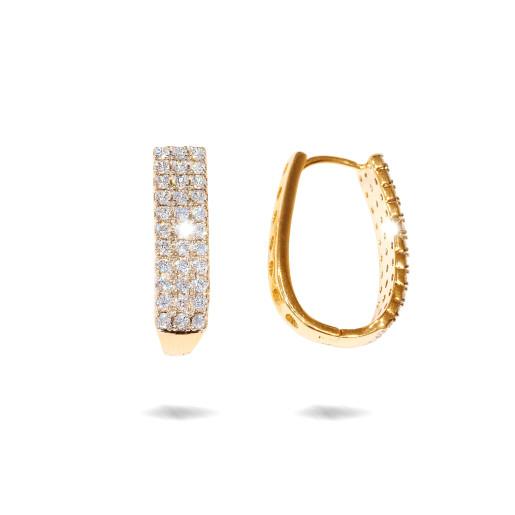 Cercei placati cu aur 18 K, cu pietre trei pietre zirconia multifatetate , 7613O830