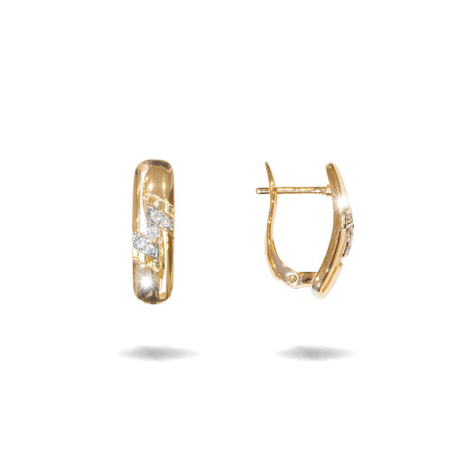 Cercei placati cu aur 18 K,model cu pietre zirconia montura micropave , 7614O823