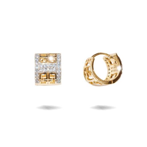 Cercei placati cu aur 18 K,model cu pietre zirconia montura micropave , 7615O821