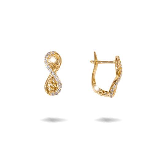 Infinity , cercei placati cu aur 18 K,model cu pietre zirconia montura micropave , 7616O822