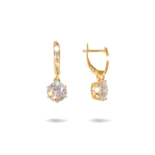 Cercei placati cu aur 18 K,model cu pietre zirconia multifatetate , 7620O822