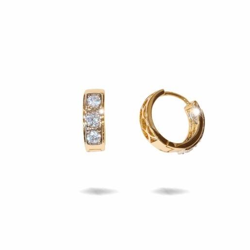 Cercei placati cu aur 18 K,model creola cu pietre zirconia multifatetate , 7621O818