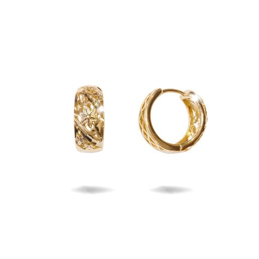 Cercei placati cu aur 18 K, model creola diamantata cu motiv floral , 7624O822
