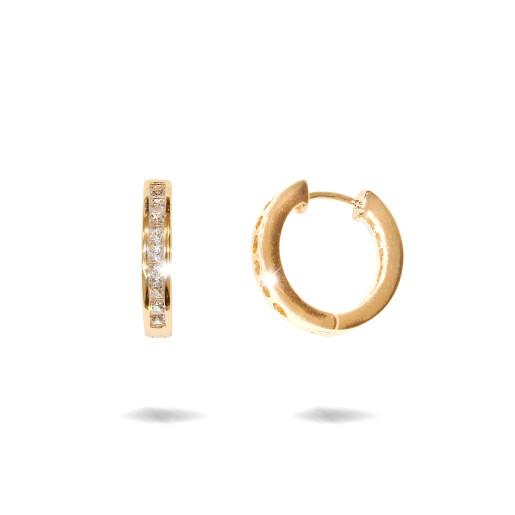 Cercei placati cu aur 18 K,model creola cu pietre zirconia multifatetate , 7625O822