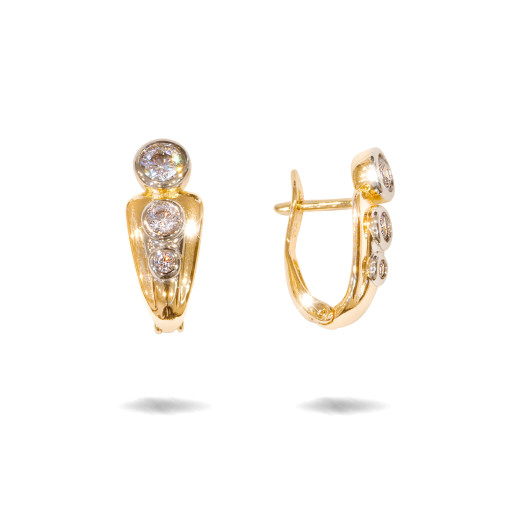 Cercei placati cu aur 18 K, inchidere clasica, cu pietre zirconia multifatetate 7626O822