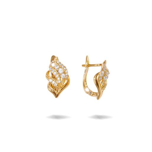 Cercei placati cu aur 18 K, inchidere clasica, cu pietre zirconia montura micropave 7628O822