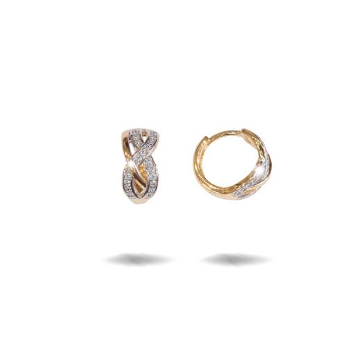 Cercei placati cu aur 18 K,model creola cu pietre zirconia montura micropave , 7629O821