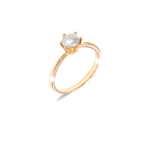 Inel placat cu aur de 18 k, model Solitair, colectia onlinebijoux, 7631O922