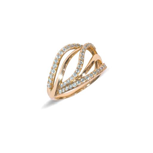 Inel placat cu aur de 18 K, colectia onlinebijoux, cu pietre zirconia albe, montura micropave, 7637O924