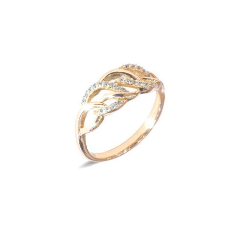 Inel placat cu aur de 18 K, colectia onlinebijoux, cu pietre zirconia albe, montura micropave, 7639O922