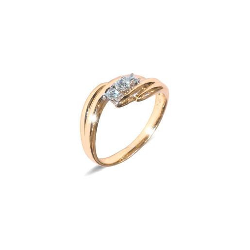 Inel placat cu aur de 18 K, colectia onlinebijoux, cu pietre zirconia albe multifatetate, 7640O922