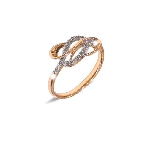 Inel placat cu aur de 18 K, colectia onlinebijoux, cu pietre zirconia albe multifatetate, 7641O924