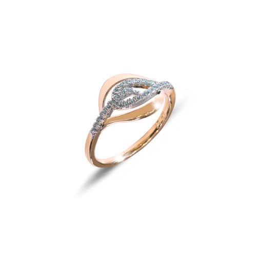 Inel placat cu aur de 18 K, colectia onlinebijoux, cu pietre zirconia albe multifatetate, 7642O924