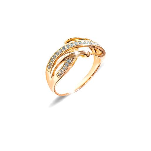 Inel placat cu aur de 18 K, colectia onlinebijoux, cu pietre zirconia albe multifatetate, 7643O925