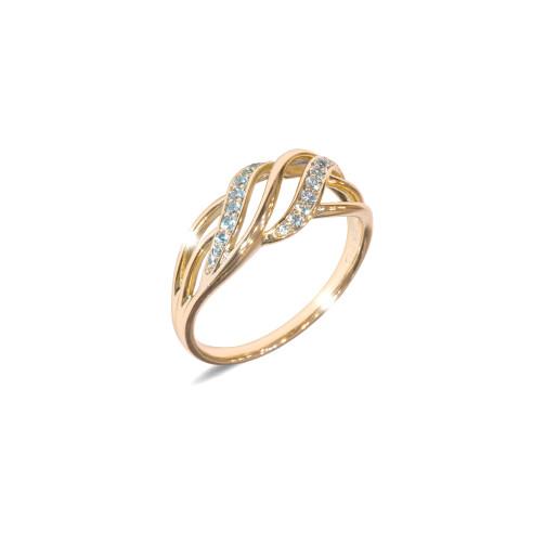 Inel placat cu aur de 18 K, colectia onlinebijoux, cu pietre zirconia albe multifatetate, 7644O922