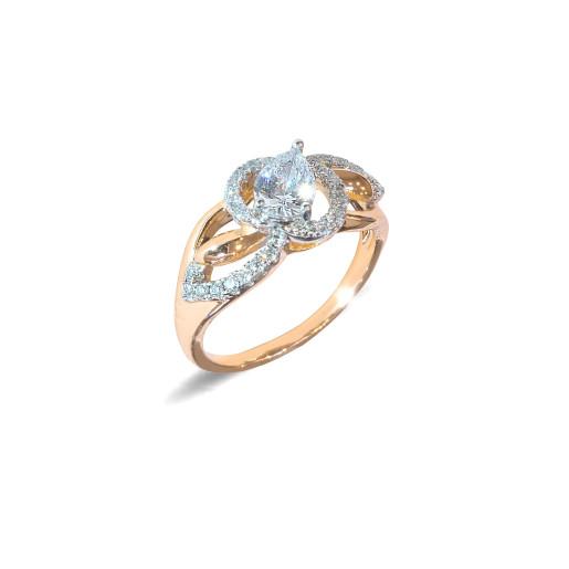 Inel placat cu aur de 18 K, colectia onlinebijoux, cu pietre zirconia albe, montura micropave, 7645O925