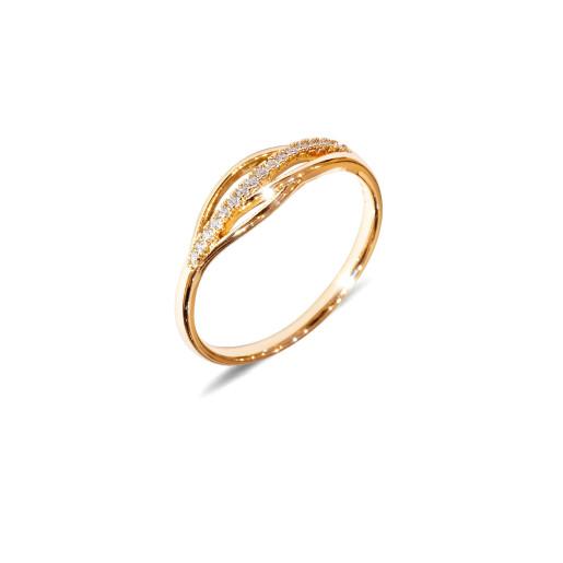Inel placat cu aur de 18 K, colectia onlinebijoux, cu pietre zirconia albe, montura micropave, 7648O921 marime 62
