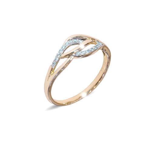Inel placat cu aur de 18 K, colectia onlinebijoux, cu pietre zirconia albe, montura micropave, 7649O922