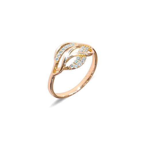 Inel placat cu aur de 18 K, colectia onlinebijoux, cu pietre zirconia albe, montura micropave, 7652O922