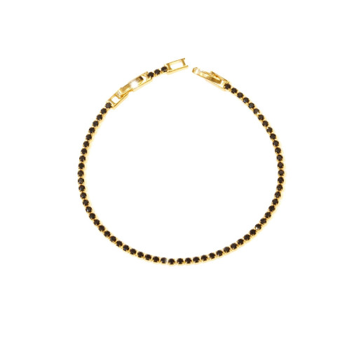 Bratara placata cu aur 18 k, model tenis , cu pietre zirconia negre - 7655O424