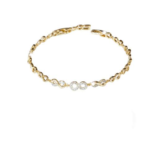 Bratara placata cu aur 18 k, cu pietre zirconia montura micropave  , model infinity - 7658O439