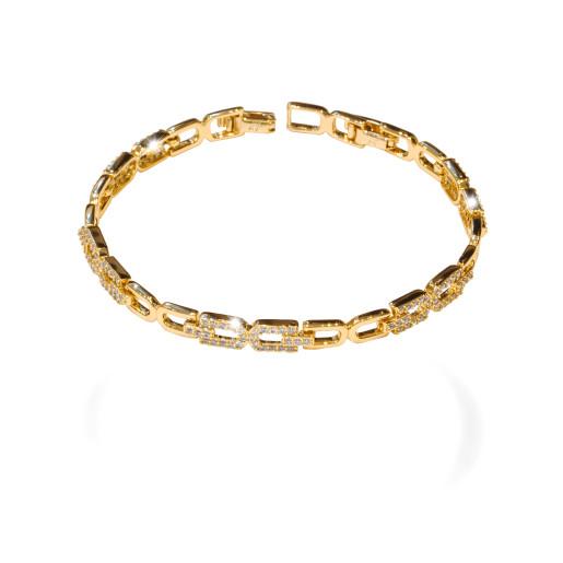 Bratara placata cu aur 18 k, cu pietre zirconia montura micropave  - 7660O454