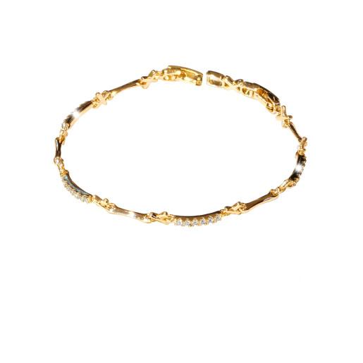Bratara placata cu aur 18 k, cu pietre zirconia multifatetate  - 7664O437