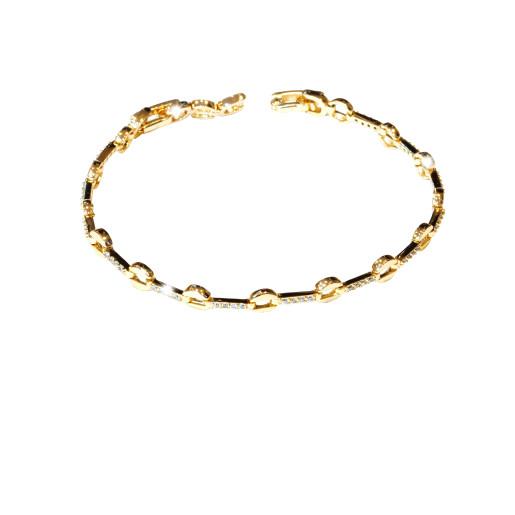Bratara placata cu aur 18 k, cu pietre zirconia multifatetate  - 7665O438