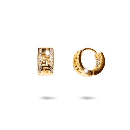 Cercei placati  cu aur 18 k , 2 microni, cu pietre zirconia , montura micropave, model grecesc  - 7674O824