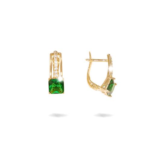 Cercei placati cu aur 18 k , 2 microni, cu pietre zirconia albe si verzi, multifatetate  - 7675O822