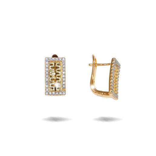 Cercei placati cu aur 18 k , 2 microni, cu pietre zirconia , montura micropave, model grecesc  - 7676O824