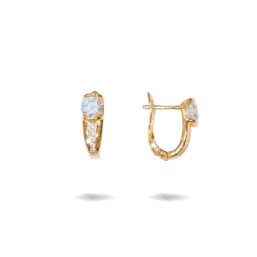 Cercei placati cu aur 18 k , 2 microni, cu pietre zirconia , montura micropave, inchidere clasica  - 7677O822