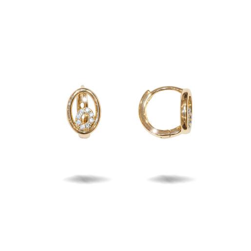 Cercei placati cu aur 18 k , 2 microni, cu pietre zirconia , montura micropave,model creola  - 7679O818