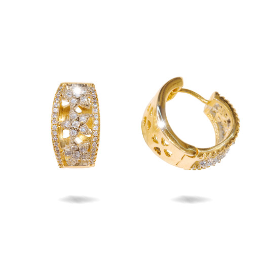 Cercei placati cu aur 18 k , 2 microni, cu pietre zirconia , montura micropave,model creola  - 7681O824