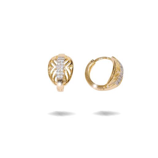 Cercei placati cu aur 18 k , 2 microni, cu pietre zirconia , montura micropave,model creola  - 7682O822