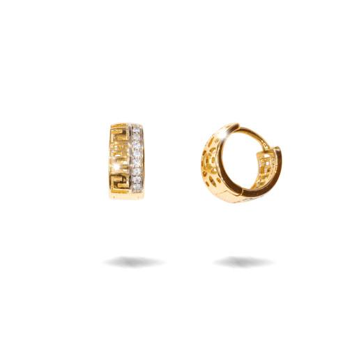Cercei placati cu aur 18 k , 2 microni, cu pietre zirconia , montura micropave, model grecesc  - 7683O818