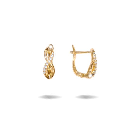 Cercei placati cu aur 18 k , 2 microni, cu pietre zirconia multifatetate , inchidere clasica  - 7685O821