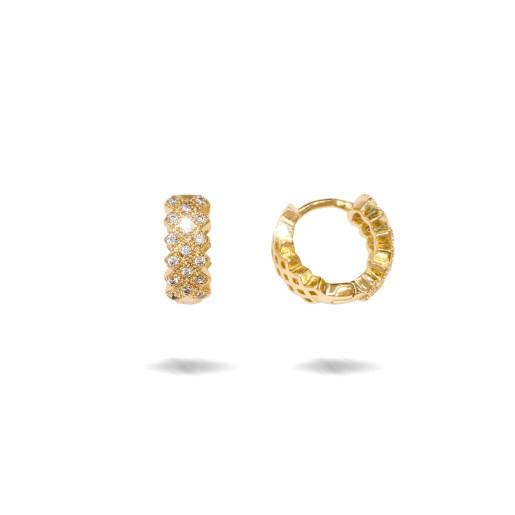 Cercei placati cu aur 18 k , 2 microni, cu pietre zirconia multifatetate , model creola - 7686O818