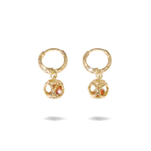 Cercei placati cu aur 18 k , 2 microni, cu pietre zirconia rosii , multifatetate , model creola - 7687O820