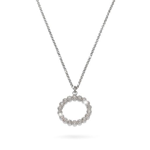 Colier argint 925, rodiat , lungime lant 40 cm + etensie 5 cm , cu pietre zirconia multifatetate - 7698O371