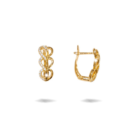 Crystal, cercei placati cu aur 18 K, cu pietre zirconia multifatetate - 7702O822