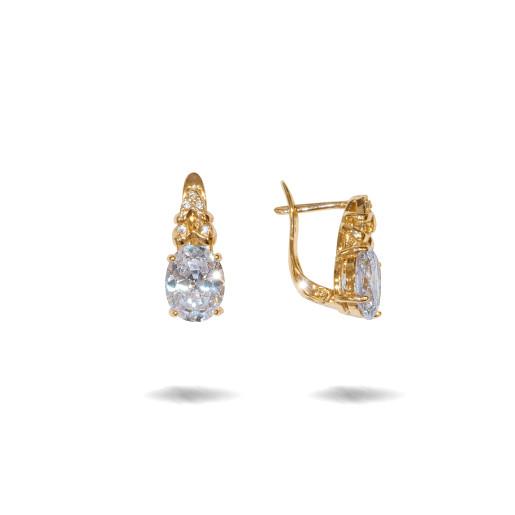 Cercei placati cu aur 18 K, cu pietre zirconia montura micropave si un cristal multifatetat, inchidere clasica  - 7704O823